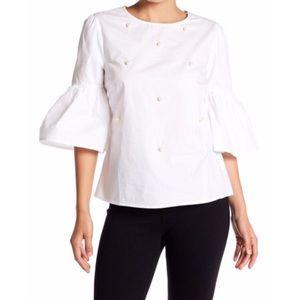 ZARA Bell Sleeve Blouse w/ Pearl Embellishment.